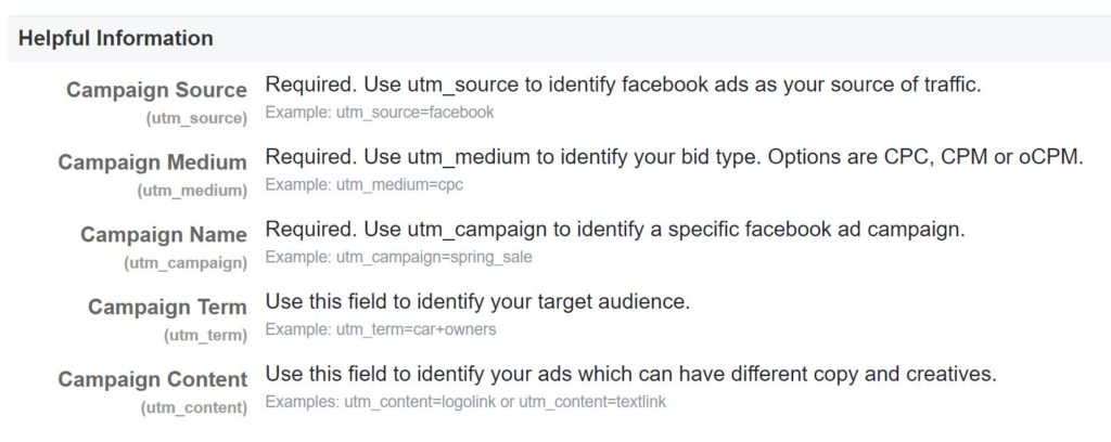 Facebook - Helpful Information on Google Analytics URL Builder