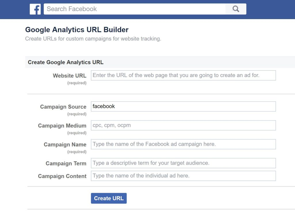 UTM Tracking in Facebook using their Google Analytics URL Builder Create URLs for custom campaigns for website tracking.