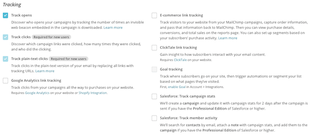 Mailchimp - Google Analytics link tracking setting